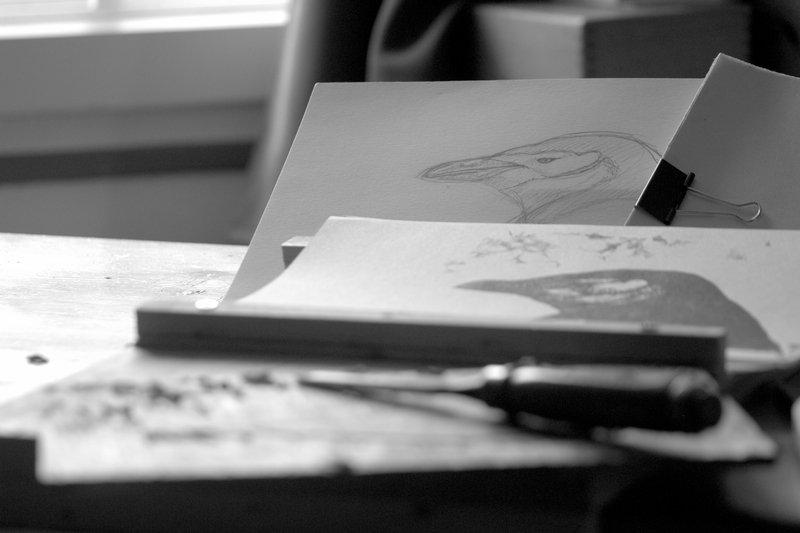 Croquis de terrain, première impression et gravure pour corriger